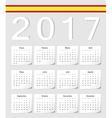 Spanish 2017 calendar with shadow angles vector image
