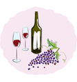 red wine with a glass sketch vector image vector image