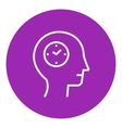 Human head with clock line icon vector image