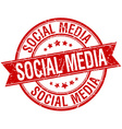 social media grunge retro red isolated ribbon vector image