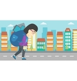 Woman with backpack full of electronic devices vector image