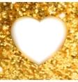 Gold glitter frame heart vector image