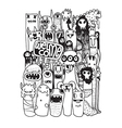 Hand drawn Crazy doodle Monster City vector image