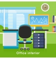 Office Interior in Flat Style Modern Workspace vector image