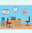 office room interior with furniture calendar vector image