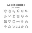 set line icons of accessories vector image