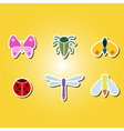 set of color icons with various insects vector image
