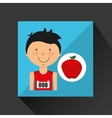 cartoon boy athlete with apple vector image