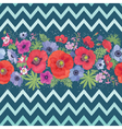 Beautiful Flower Seamless Pattern with Zigzag vector image vector image