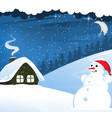 house and snowman vector image
