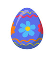 easter egg with ornamental lines and blue flowers vector image