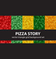 triangle pattern set pizza story seamless vector image