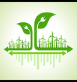 Ecology Concept - wind mill with leaf and plug vector image