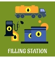 Storage transportation and filling station icons vector image vector image