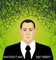 Businessman with doodles - trouble concept vector image