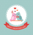 Card for Valentines Day Birds Ribbon Label vector image