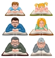 Family reading book Set people reading book vector image vector image