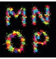 Colorful alphabet with blots MNOP vector image