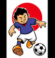 japan soccer player with japan flag background vector image