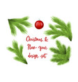 set of green lush spruce branches for christmas vector image