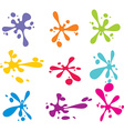 Splashes of colorful ink on white vector image