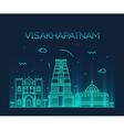 Visakhapatnam skyline linear style vector image
