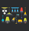 cartoon home illumination lamp color set vector image