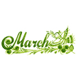 March the name of the month vector image