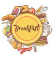 healthy breakfast hand drawn design with eggs vector image