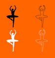 Ballet dancer black and white set icon vector image