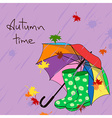 Background with umbrella and gumboots vector image