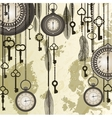 Antique background with grungy map and clocks vector image