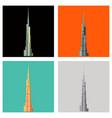 set of burj khalifa tower icon uae dubai symbol vector image