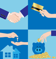 Set of Business Hands and finance vector image