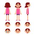 set of little girl vector image