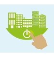 Smart city on green hand building icon vector image