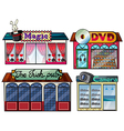 Amusement area dvd and camera shop vector image