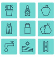 set of 9 agriculture icons includes stairway jug vector image