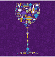 Restaurant icon set in wine glass shape vector image vector image