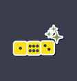paper sticker on stylish background dice lucky vector image