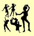 Attraction dancing show silhouette vector image