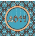 New Year Card hanging figures vintage vector image