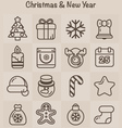 Outline Icons Christmas and New Year vector image vector image