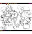 cartoon farm animals coloring book vector image vector image