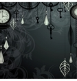 Vintage dark background with antique clocks and vector image vector image
