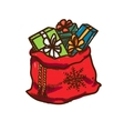 Bag full of presents vector image