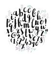 brush pen hand drawn font alphabet vector image