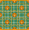 checkered green fabric with orange circles and vector image