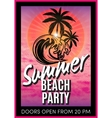 retro poster with summer beach party vector image