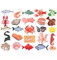 seafood flat icons big set vector image